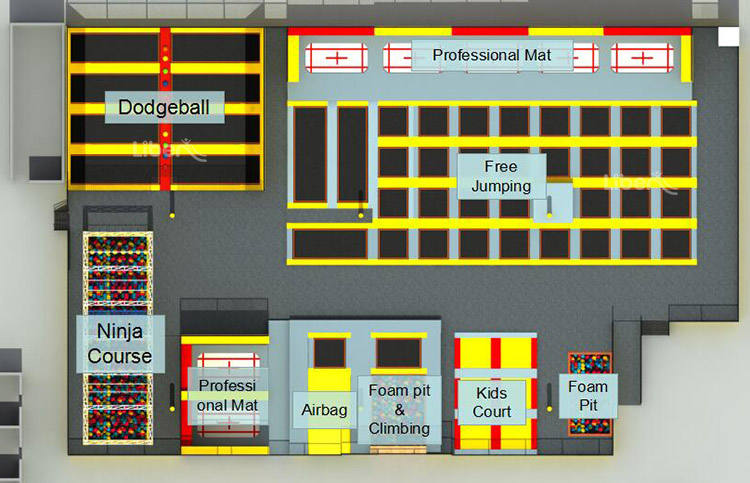 Professiona Trampoline park Layout Plan