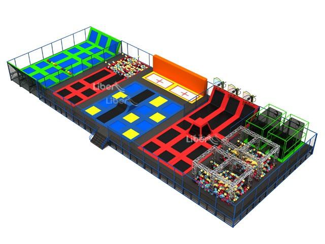 Large amusment park indoor trampoline park design for Indoor trampoline park design manufacturing