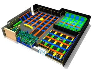 China Large Trampoline Park Design with Foam Pit and Dodgeball