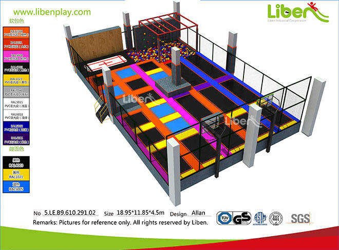 200 square meter Shopping Center Indoor Trampoline Producer in China