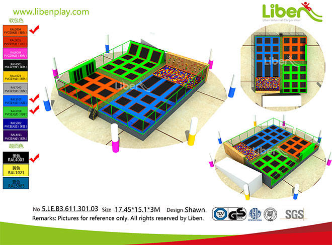 Rectangular Indoor Trampoline  Park for Shopping Mall in China