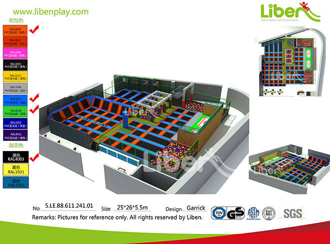 China Trampoline Seller to Build Large Commercial Trampoline Park with Basketball adn Dodgeball Zone